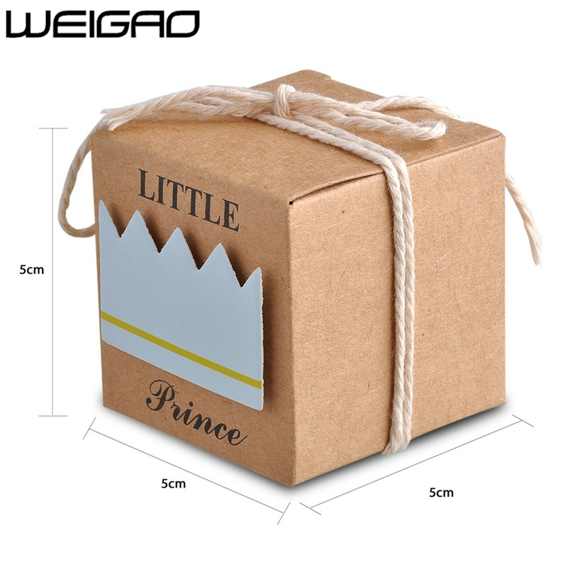 Image 5 - WEIGAO 20pcs/40pcs Kraft Paper Candy Box Baby Shower Gifts For Guests Birthday Party Babyshower Boy Girl Gift Bag Party Supplies-in Gift Bags & Wrapping Supplies from Home & Garden