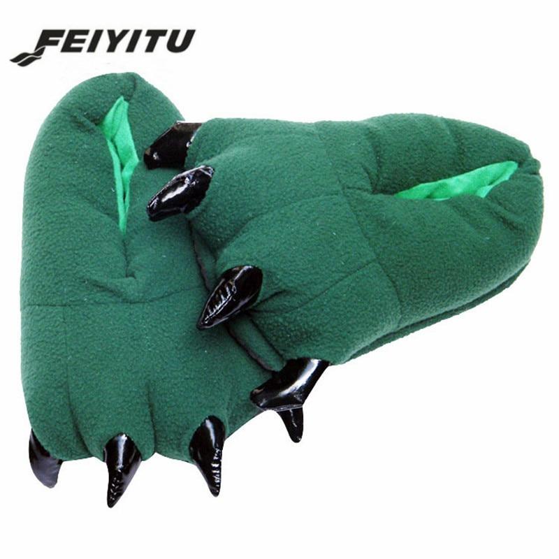FeiYiTu 2019 nuevo divertido Animal de los hombres de invierno zapatillas Unisex monstruo Lovey zapatillas lindo de La felpa zapatillas de interior zapatos