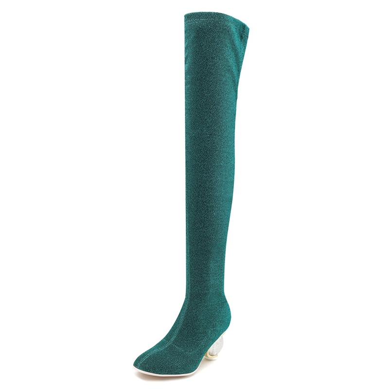 Genou Green Femmes Haute Slim Bottes Sur Blue Transparent Cuisse Us11 Étrange Femme Stretch Simloveyo Mi gold Bottine Clair red Talon Le 12 8dqxwnHt