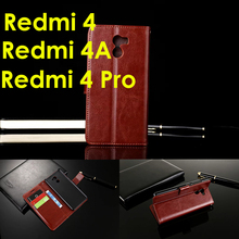 Original Xiaomi Redmi 4 4A Pro Case Flip Wallet Genuine Leather For Stand Function Card Holder