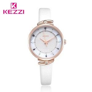 Image 2 - Часы KEZZI женские с кожаным ремешком, брендовые Простые Модные маленькие Кварцевые водонепроницаемые наручные, с кристаллами