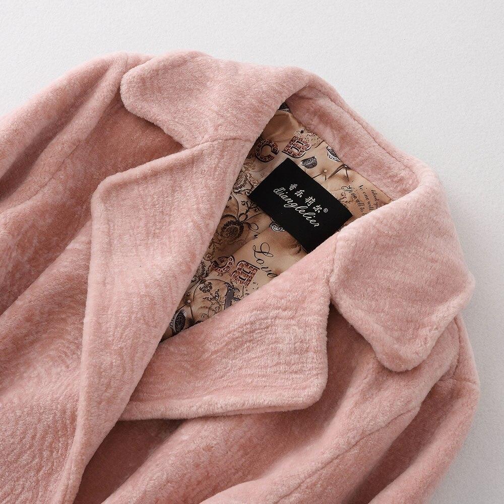 Nouveau Style Des Moutons Fourrure pink Tonte Loisirs Veste Roulé De Manteau White Pur couleur Col 1q1wdBIxr