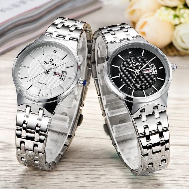 QIANBA Men Women Top Luxury Brand Stainless Steel WristWatches Unisex lovers Quartz Waterproof Fashion Casual Business Watches