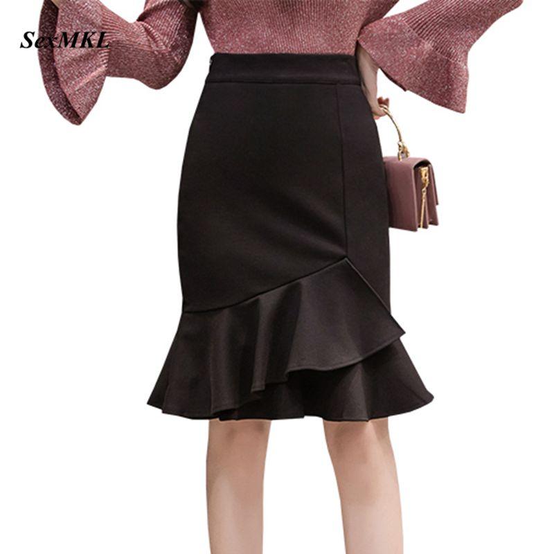 SEXMKL Faldas Mujer Moda 2020 Spring Summer Skirts Womens High Waist Ruffles Black Skirt Red Office Pencil Skirt Plus Size Jupe