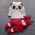 Nueva Ropa Del Bebé Fijó Niño de Dibujos Animados Bebé Infantil Chicos Primavera Otoño Trajes de la camiseta + Bib Pantalones Ropa de Niños L129