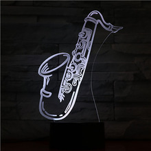 Usb 3d Led Night Light Saxophone Multicolor Rgb Boys Child Kids Baby Gifts Musical Instrument Atmosphere Table Lamp Bedside neon street dance figure usb 3d led night light multicolor rgb decorative light boys child kids baby gifts hip hop table lamp bedside