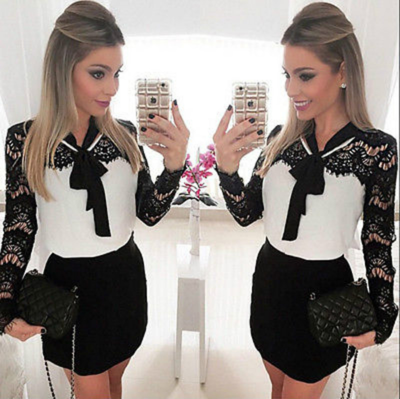 Fashion Trendy Office Lady Long Sleeve Silk  Lace Slim BodyCon Casual Mini Dress