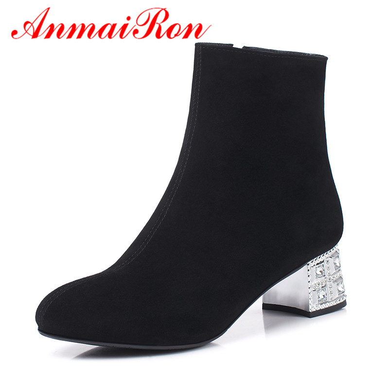 ANMAIRON 2018 Fashion Woman Shoes Lycra Flock Shoes Spring Autumn Ladies Boots Crystal Ankle Female Black Round Toe Shoes women ankle boots 2016 round toe autumn shoes booties lace up black and white ladies short 2017 flat fashion female new chinese