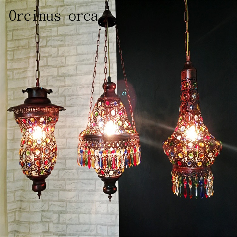 Southeast Asia Thai style color crystal chandelier Mediterranean Bohemia restaurant lights Postage freeSoutheast Asia Thai style color crystal chandelier Mediterranean Bohemia restaurant lights Postage free