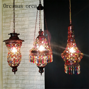 Southeast Asia Thai style color crystal chandelier Mediterranean Bohemia restaurant lights Postage free