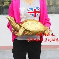 50 см большая компания магазин дома эффективный талисман приносят благосостояние и удача черепаха Золото Китайский фэн шуй латунная статуя
