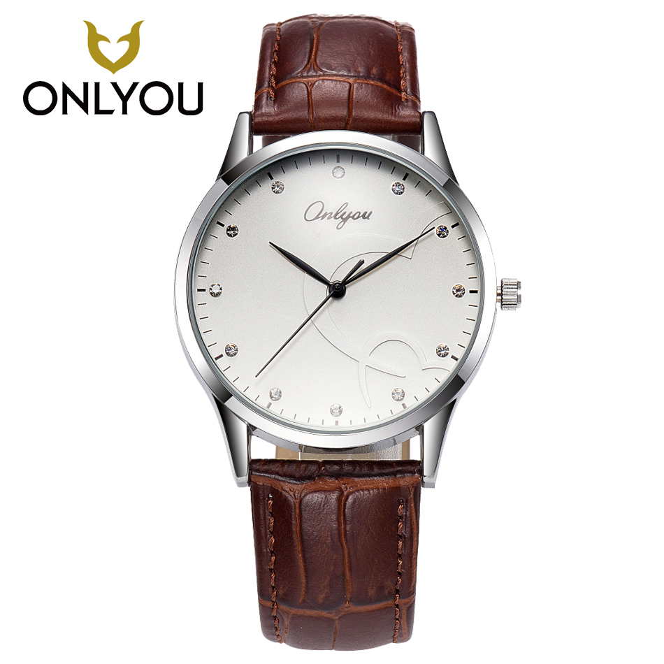купить ONLYOU Fashion Lovers Watch Men Top Brand Luxury Casual Wristwatch Women Waterproof Quartz Leather Strap Male Clock Female недорого