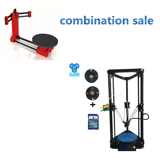 Combination sale-the newst design HE3D K200 delta 3d printer kit- support multi material adding HE3D DIY scanner kit