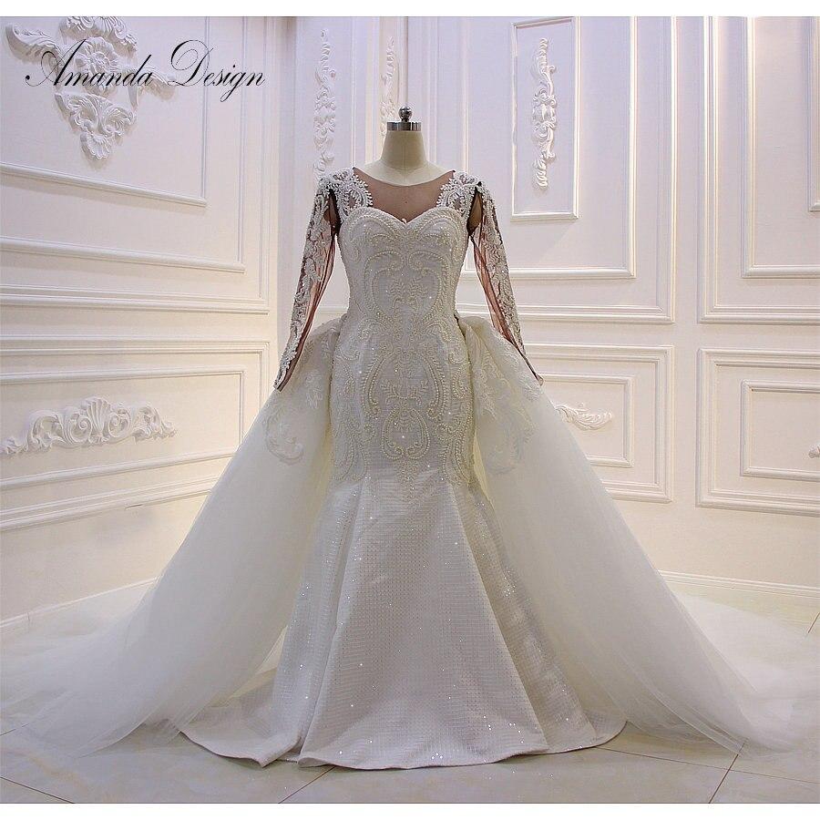 Amanda Design Long Sleeve Lace Applique Mermaid Removable Skirt African Wedding  Dress 2019 2434df121b4d