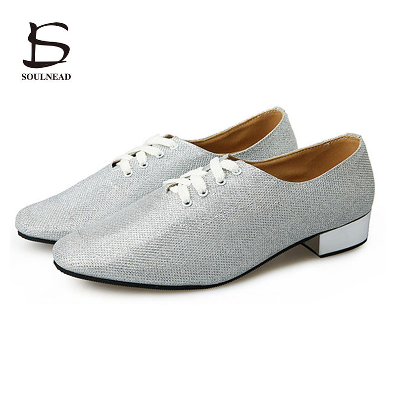New Adult Men Latin Tango Dance Shoes Modern Jazz Salsa Tap Dancing Shoes Soft Bottom Silver Dance Shoes for Boys Practice Dance male latin dance shoes male sneaker leather shoes square modern adult soft bottom layer toe latin square dance party gb