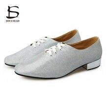 0dc957dd5d Novos Homens Adultos Latina Salsa Tango Sapatos de Dança Moderna Jazz  Sapateado Sapatos Fundo Macio Sapatos De Dança De Prata pa.