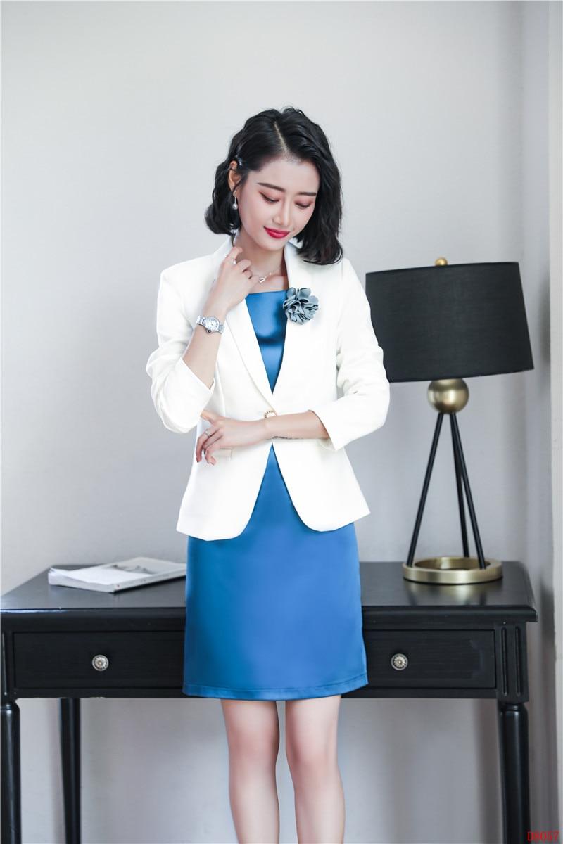 Señoras Y Trajes Moda Las Para Blazer Oficina ramillete Chaqueta Incluido  De Vestido Negocios Blanco Conjuntos Mujeres Uniforme Estilo Flor Hqwvdx4Ev 84b4b6283da5