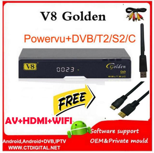 Freesat v8 de oro del receptor de satélite dvb-s2 + c + t2 powervu youtube iptv receptor de satélite freesat v8 pro