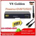 Freesat v8 dourado powervu receptor de satélite dvb-s2 + c + t2 youtube iptv receptor de satélite freesat v8 pro
