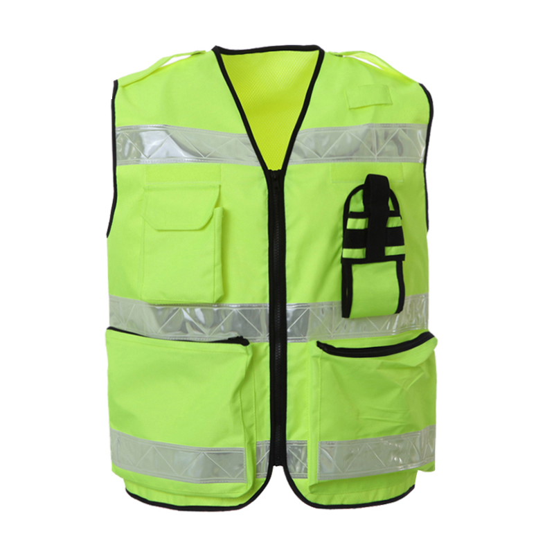 Reflective Vest Waterproof High Visibility Safety Clothing Multi pockets Fluorescent Yellow Clothes Waistcoat Outdoor Workwear