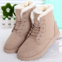 Women Boots New Women Winter Boots Fashion Ankle Up Flats Heels Women Shoes