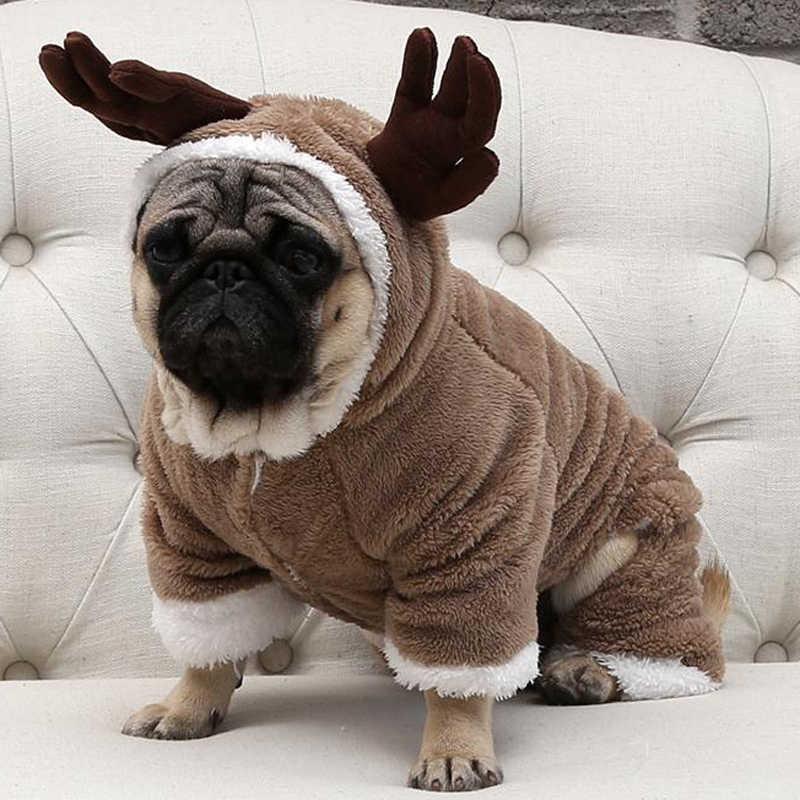 ฤดูหนาวที่อบอุ่นขนแกะเสื้อผ้าสัตว์เลี้ยงสำหรับสุนัขขนาดเล็กสุนัขคริสต์มาสเครื่องแต่งกาย Jumpsuit Puppy Coat แจ็คเก็ต Chihuahua Pug เสื้อผ้า