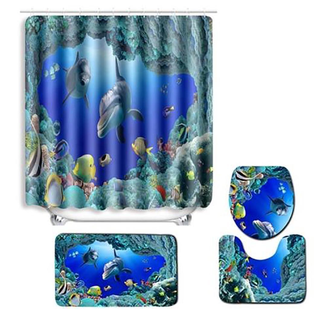 Коврик для ванной комнаты душевая занавеска в комплекте с принтом туалет 1 x Чехол, 1 x ковер, 1 x U коврик для сиденья нескользящий коврик для ванной - Цвет: underwater world
