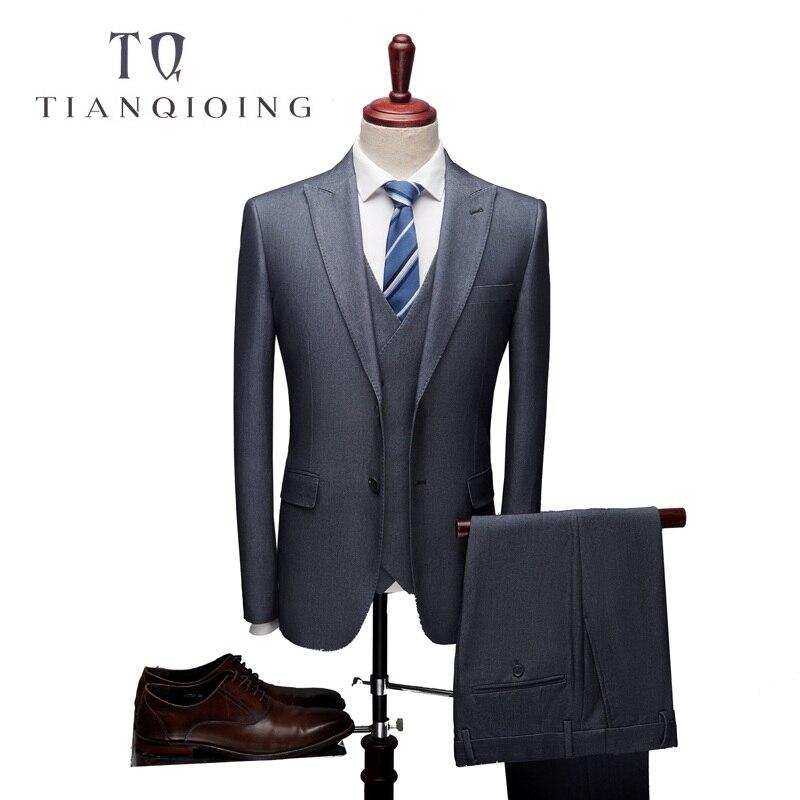 Jacket Pants Vest Men 3 Piece Formal Business Wedding Suits Men's Dress Suits High Quality Slim Fit Groom Wedding Tuxedo