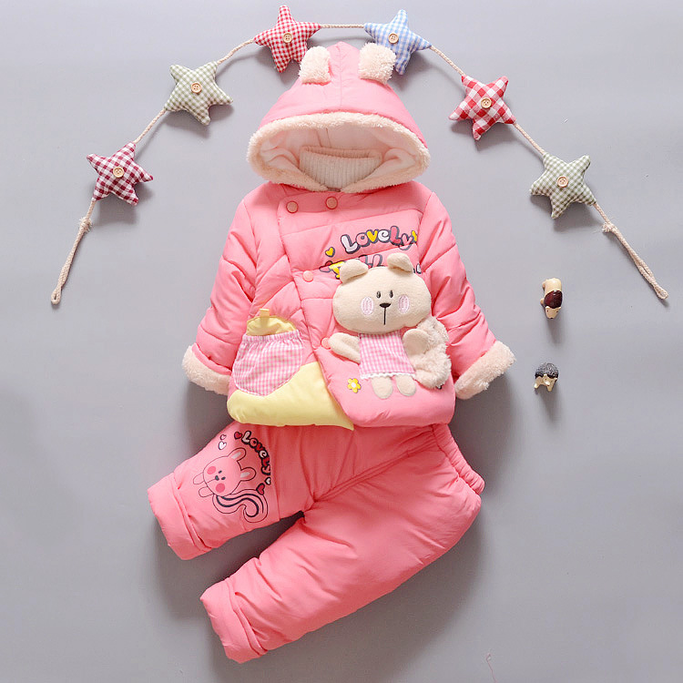 ФОТО Autumn Winter baby girls clothing sets kids Squirrel coat + pants 2pcs Warm clothes set 18M-3Y