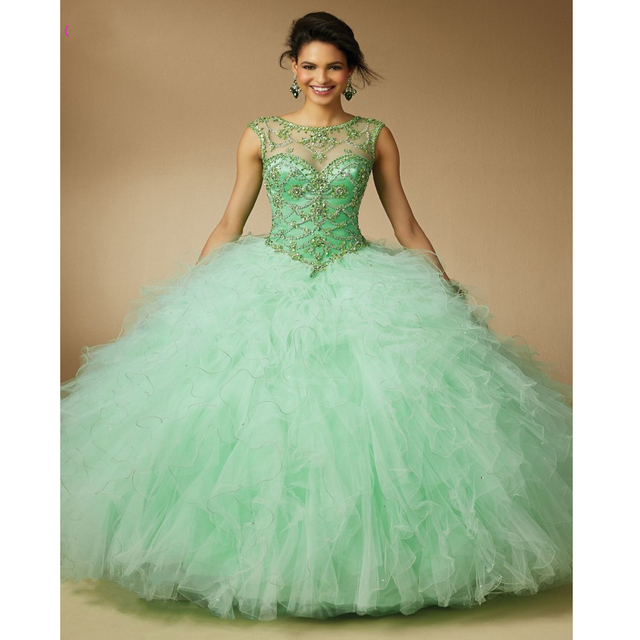 Custom Made Debutante Gown Free Shawl Pink/Green/Orange Tulle ...