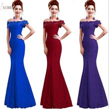 Lace Mermaid Burgundy Long Bridesmaid Dresses Off Shoulder Wedding Party Formal Gown 2019 vestido de festa Under 50(China)