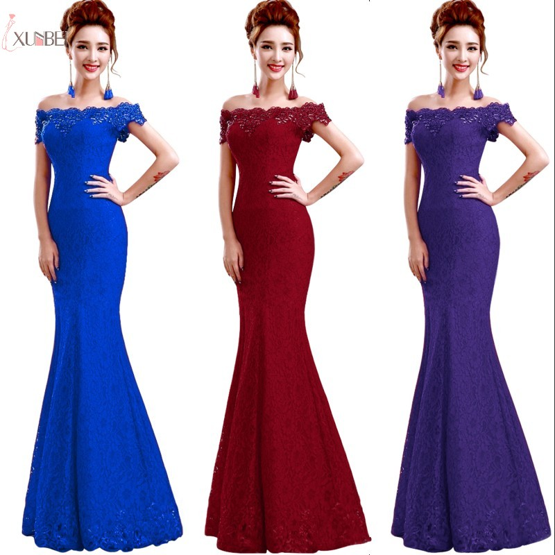 Lace Mermaid Burgundy Long   Bridesmaid     Dresses   Off Shoulder Wedding Party Formal Gown 2019 vestido de festa Under 50