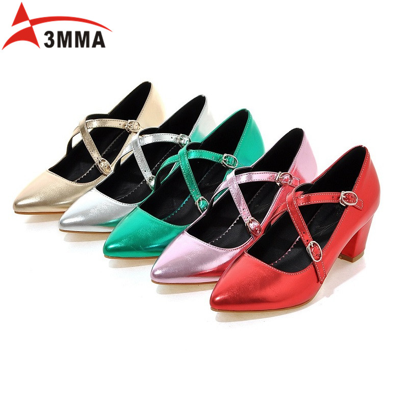 ФОТО 3MMA Mary Janes Buckle Strap Women Spring Shoes Pointed Toe Square Heels Patent Leather Shoes Chunky Heel Pumps Big Size 34-43