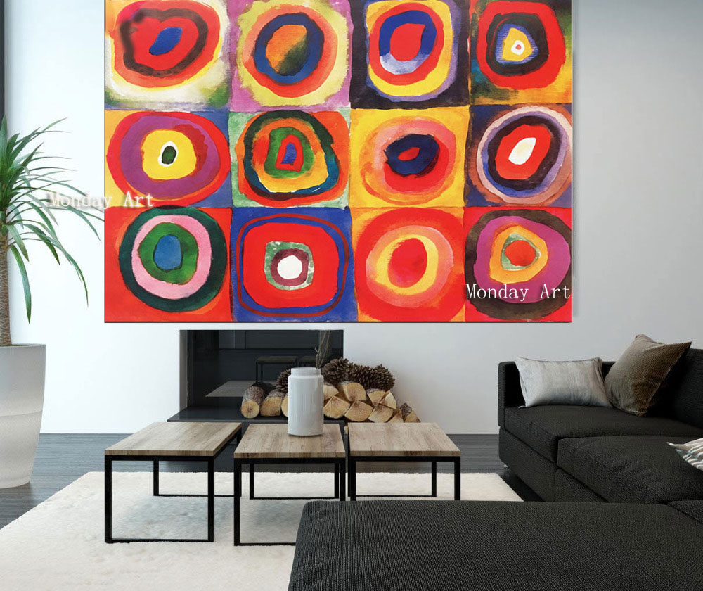 18 Handmade Wassily Kandinsky Geometric Oil Painting Abstract Paintings For Living Room Home Decor