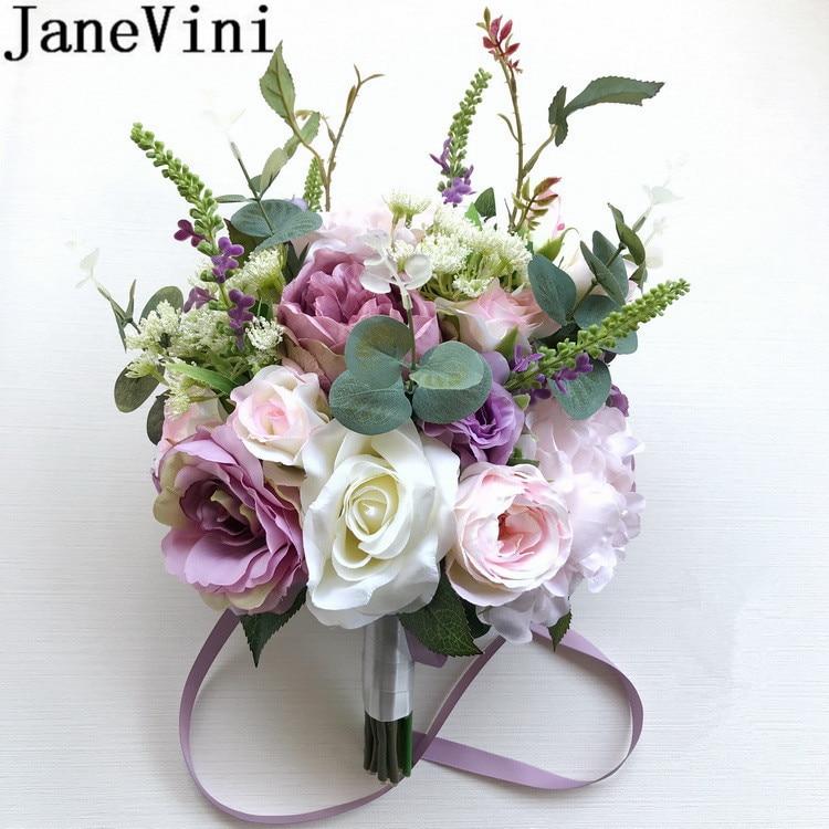 JaneVini Korean Style Artificial Brides Bouquet Wedding Flowers Bridal Bouquet Purple Rose Vintage Peony Bridesmaid Trouw Boeket