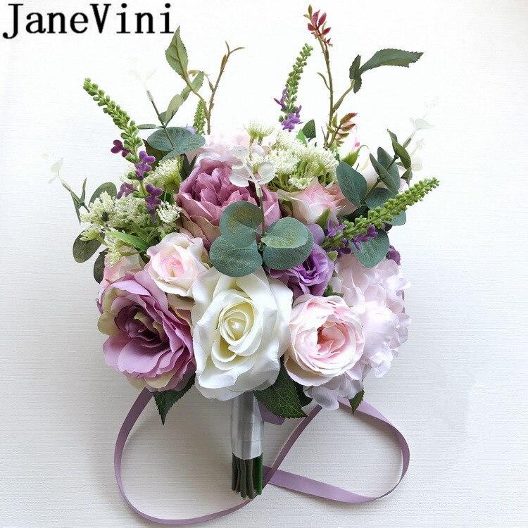 JaneVini style coréen mariée artificielle Bouquet mariage fleurs mariée Bouquet violet Rose Vintage pivoine demoiselle d'honneur Trouw Boeket