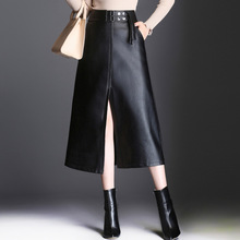 2017 New Slim Leather Skirt High Waist Winter Black Long Women Skirt Autumn Winter Fashion 4XL PU Leather Split Skirts Womens