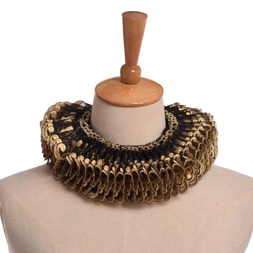 Vintage Lace Ruffle Elizabethan Collar Unisex Adult Retro Gothic Renaissance Neck Ruff Cosplay Neckwear Decoration