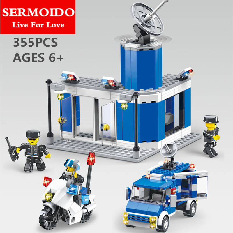 SERMOIDO City Series The New Police Station Set Children Educational Building Blocks Bricks Toys For Kids Christmas Gift B11 sermoido 02012 774pcs city series deep sea exploration vessel children educational building blocks bricks toys model gift 60095