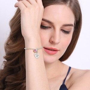 Image 3 - Ailin Gepersonaliseerde Hart Geboortesteen Armband In Sterling Zilver Namen Minnaar Bedelarmband U En Me Naam Armband Liefde Sieraden