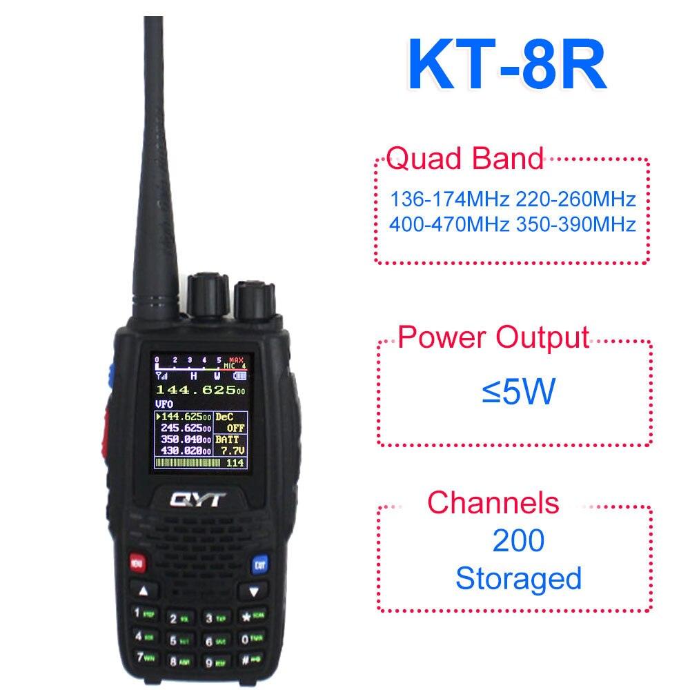 QYT KT 8R Quad Band handheld radio 136 174MHz 220 260MHz 400 480MHz 350 390MHz KT8R