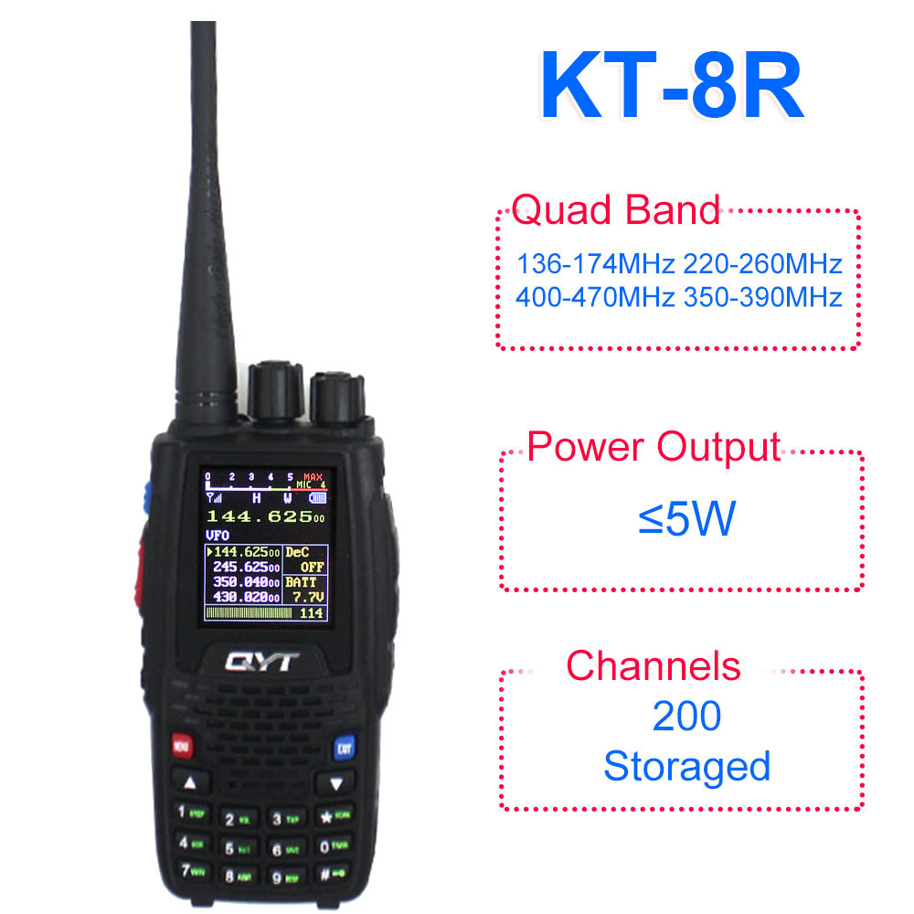 QYT KT-8R Quad Band Handheld Radio 136-174MHz 220-260MHz 400-480MHz 350-390MHz KT8R 5W UV Two Way Radio Color Display
