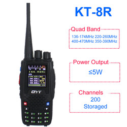 QYT KT-8R Quad Band handheld radio 136-174MHz 220-260MHz 400-480MHz 350-390MHz KT8R 5W UV two way radio farbe display