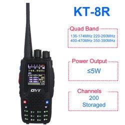 QYT KT-8R Quad banda de radio 136-174MHz 220-260MHz 400-480MHz 350-390MHz KT8R 5W UV radio de dos vías de color