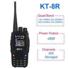QYT KT 8R quadri bande radio portable 136 174MHz 220 260MHz 400 480MHz 350 390MHz KT8R 5W UV radio bidirectionnelle affichage couleur