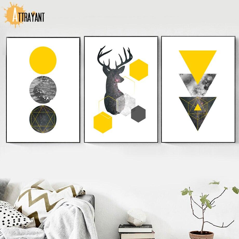 ATTRAYANT jelenska geometrijska meglica živalsko platno slikanje - Dekor za dom