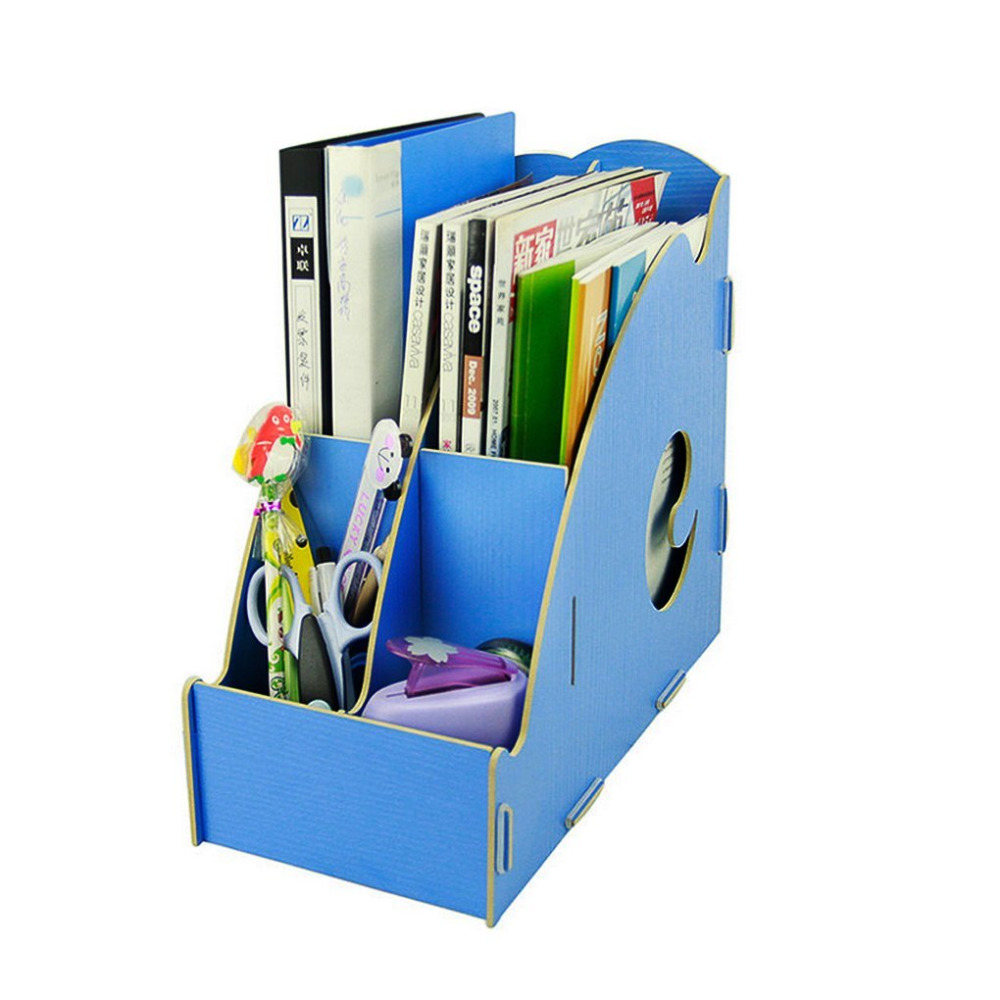 Blue Georgie Eco Friendly Hollow Out 4 Girds DIY Wooden Desk Organizer  Office Cubbyhole Dorm Storage Box Magazine Holder