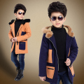 High quality New Boys Winter Coat Fashion Double Breasted Solid Navy gray Blue Kids Wool Coats Jacket Boys Children Outerwear 12