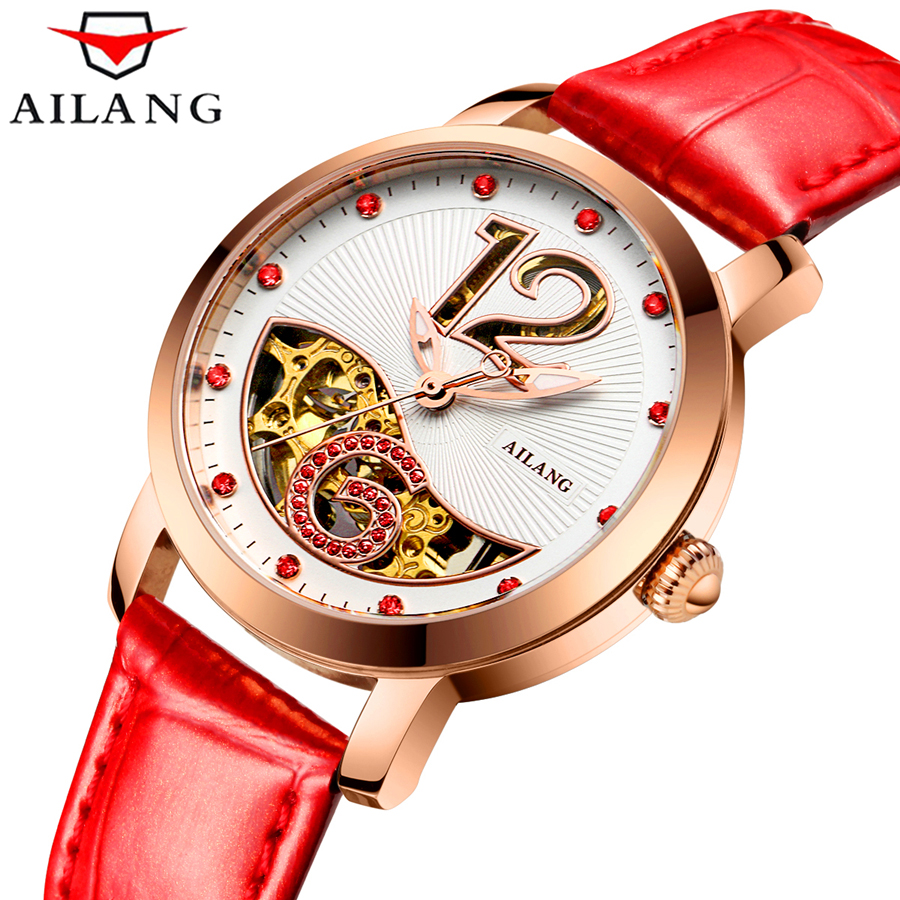 AILANG Female Notes Rose Gold Automatic Self-Wind Mechanical Watches Women Genuine Leather Strap Skeleton Watch Fashion Ladies original binger mans automatic mechanical wrist watch date display watch self wind steel with gold wheel watches new luxury