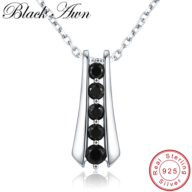 [BLACK AWN] Trendy 925 Sterling Silver Necklace For Women Black Spine Female Bijoux Girls Gift Sterling Silver Jewelry K010